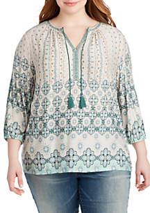 Plus Size Renata Tassel Jersey Top