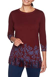 Beaujolais Floral Border Printed Knit Top