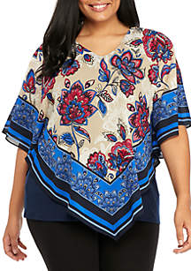 Plus Size Butterfly Woven Top