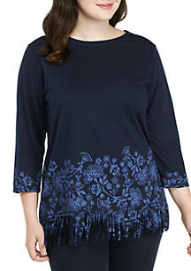 Plus Size Beaujolais Floral Border Printed Knit Top
