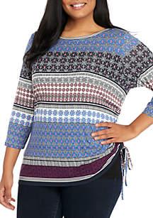 Plus Size Mixed Fleur Knit Top