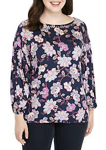 Plus Size Beaujolais Vine Jardin Printed Knit Top