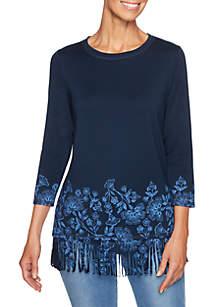Beaujolais Petite Floral Border Printed Knit Top