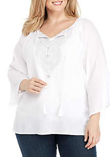 Plus Size Embroidered Split Neck Gauze Top