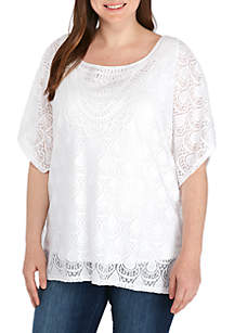 Plus Size Lace Butterfly Top