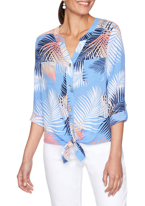 Womens Palm Print Front Tie Button-Up Top
