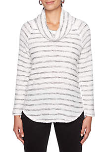 Night and Day Cowl Neck Stripe Pullover