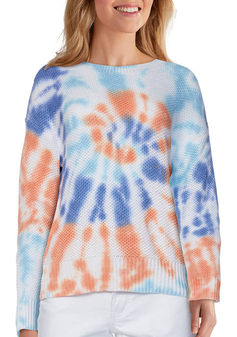 Womens Bright Outlook Vibrant Tie Dye Tuck Stitch Sweater