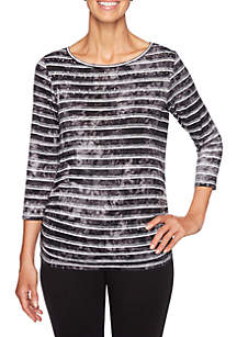 Night and Day Tie Dye Stripe Knit Top