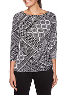 Night & Day Tile Printed Side Ruched Top