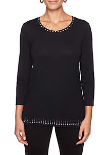 Night & Day Embellished Neck and Hem Knit Top