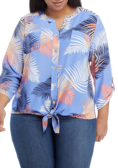 Plus Size Palm Print Front Tie Button-Up Top