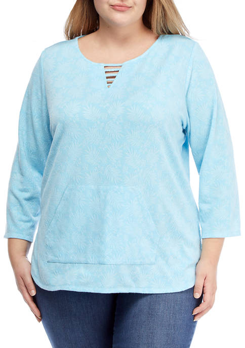 Plus Size Lightweight Tropical Printed French Terry Pullover