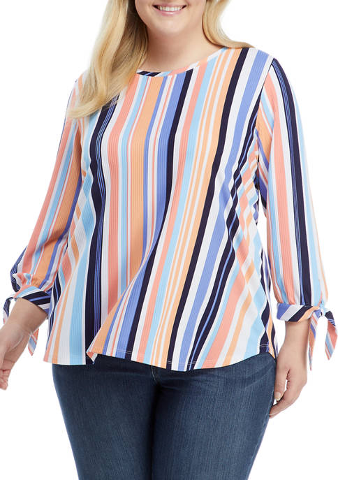 Plus Size Bright Striped Top with Bow Sleeves