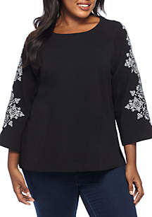 Plus Size Embellished Sleeve French Terry Knit Top