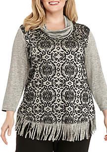 Plus Size Cowl Neck Metallic Pullover