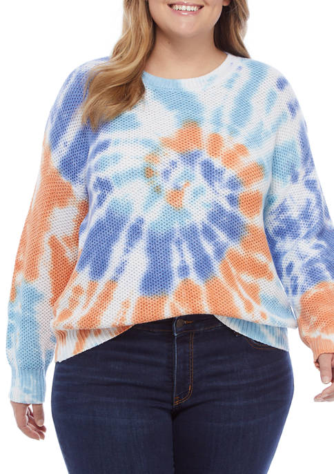 Plus Size Bright Outlook Vibrant Tie Dye Tuck Stitch Sweater