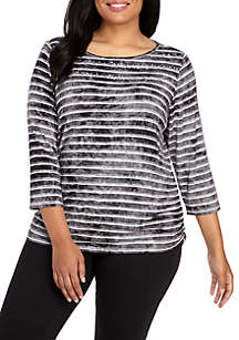 Plus Size Night and Day Tie Dye Striped Knit Top