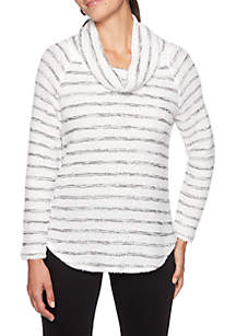 Petite Night & Day Cowl Neck Striped Pullover