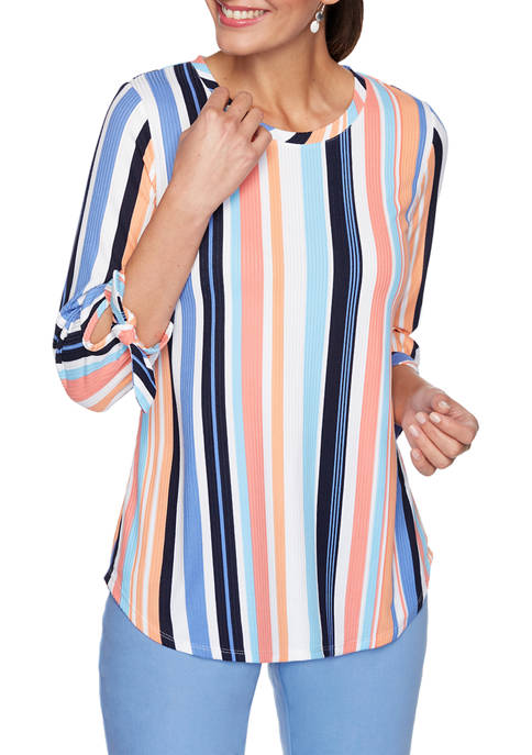 Petite Bright Striped Top with Bow Sleeves