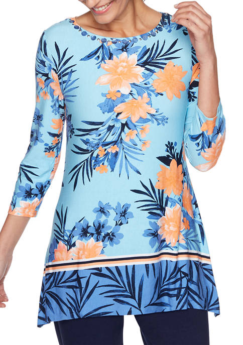 Ruby Rd Petite Embellished Tropical Printed Handkerchief Top