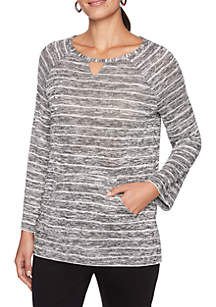 Petite Night & Day Marbled Striped Knit Top
