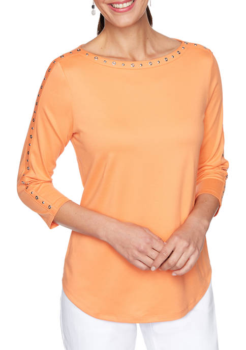 Petite Soft Studded Peached Textured Top