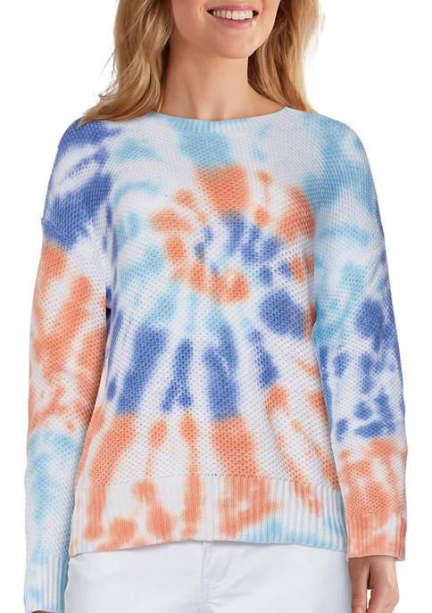 Petite Bright Outlook Vibrant Tie Dye Tuck Stitch Sweater