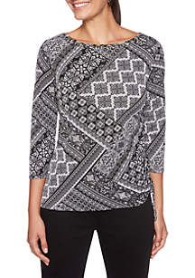 Petite Night & Day Tile Printed Side Ruched Top