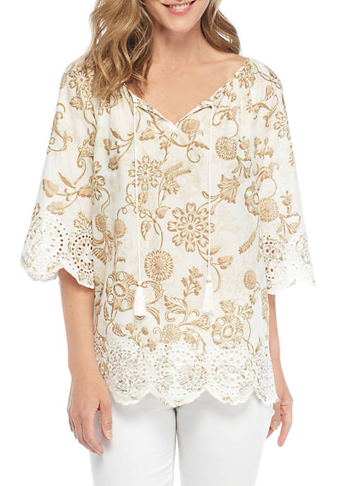 Natural Wonders Three-Quarter Sleeve Embroidered Eyelet Blouse