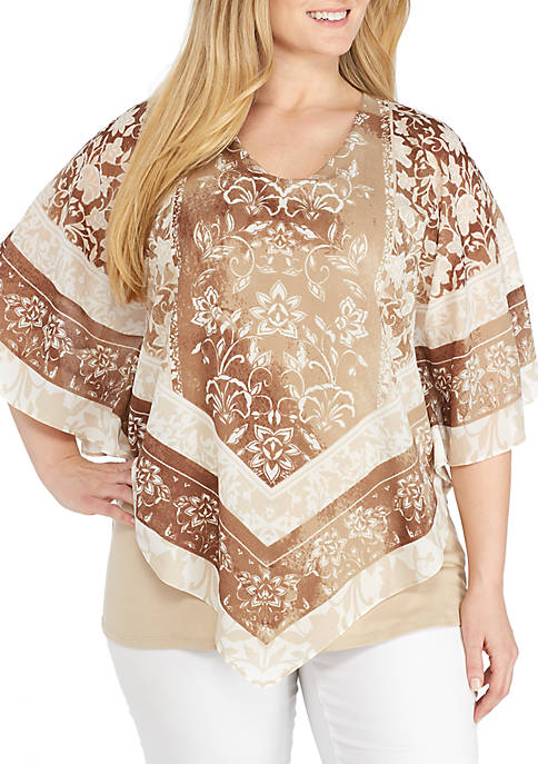 Ruby Rd Plus Size Natural Wonders V-Neck Georgette