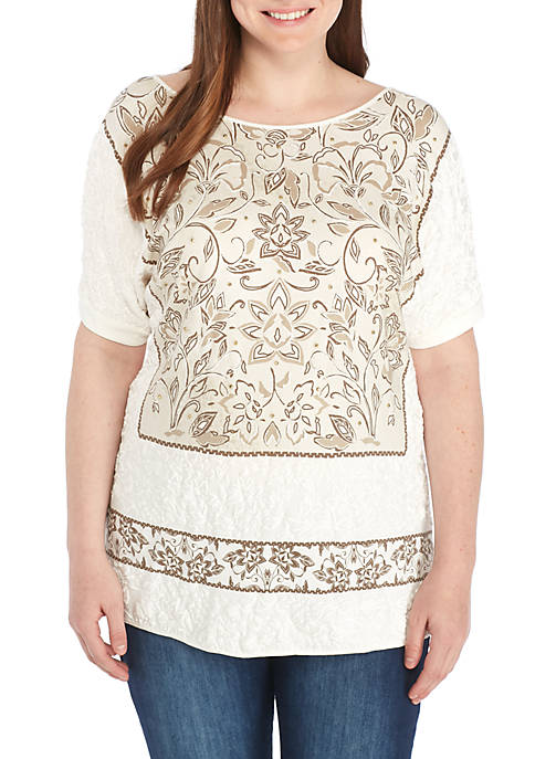 Ruby Rd Plus Size Embroidered Print Combo Knit