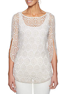 Petite Natural Wonders Geometric Crochet Lace Top