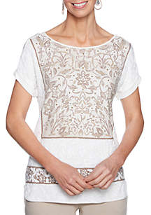 Petite Natural Wonders Embroidered Print Combo Solid Knit Top