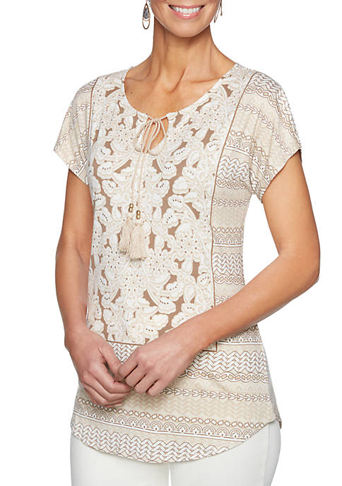Petite Natural Wonders Split Neck Embroidered Knit with
