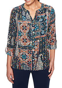 Spice Market Patchwork Printed Woven Top