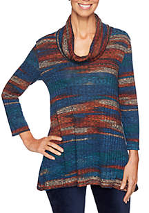 Spice Market Cowl Neck Marbled Rib Top