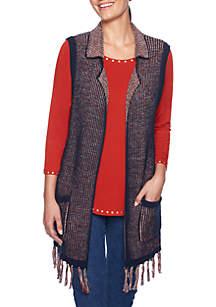 Spice Market Belted Sweater Fringe Vest