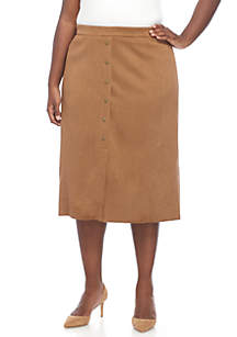 Plus Size Pull On Suede Skirt