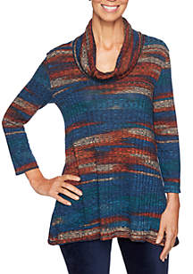 Spice Market Petite Cowl Neck Marbled Rib Top