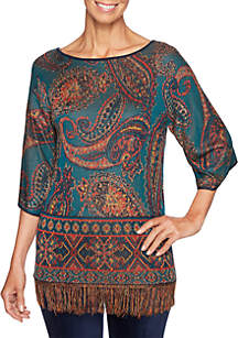 Petite Spice Market Pullover Paisley Sweater