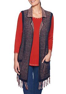Petite Spice Market Belted Sweater Fringe Vest