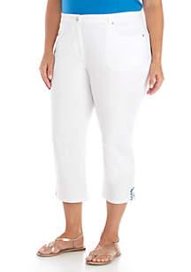 Plus Size Split Embroidered Hem Capri Pants