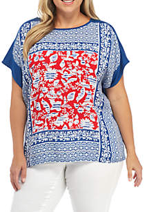 Plus Size Red White & New Floral Silk Front Solid Back Top