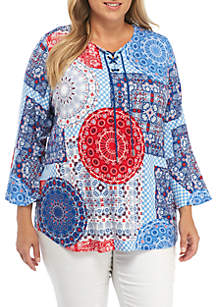 Plus Size Red White & New Split Neck Bandana Knit Top