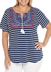 Plus Size Embroidered Neck Stripe Knit Top