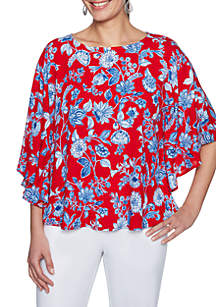 Petite Red White & New Flower Vine Butterfly Woven Top