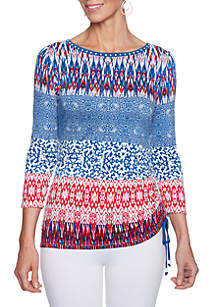 Petite Red White & New Patch Stripe Side Ruch Knit Top