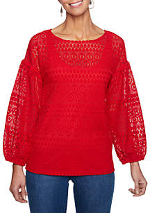 Petite Red White & New Lace Puff Sleeve Top