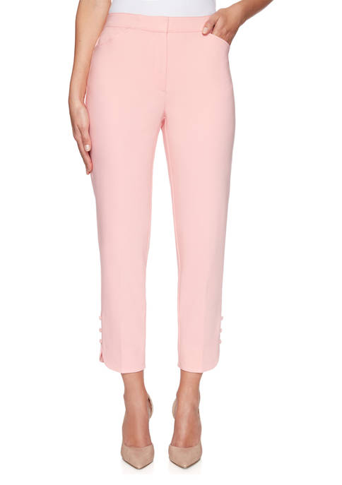 Womens Fly Front Double Stretch Pleated Ankle Pants